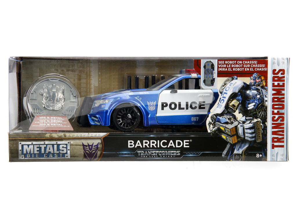 Jada Diecast Metal 1:24 Scale Transformers Movie Last Knight Barricade with COIN