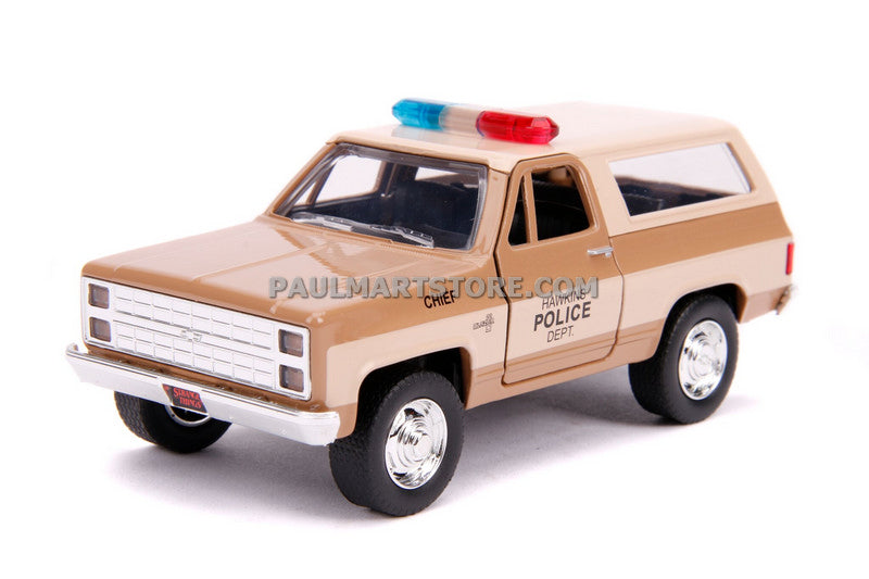 Jada Diecast Metal 1:32 Scale Stranger Things HOPPER'S CHEVY BLAZER W/POLICE BADGE