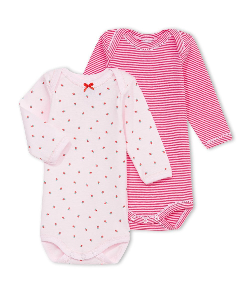 Petit Bateau Baby Girls Two-Pack Pink Rompers Baby Rompers & Onesies Petit Bateau [Petit_New_York]