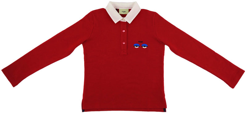 Fendi Girls Red Long-Sleeved Poloshirt Girls Tops Fendi [Petit_New_York]