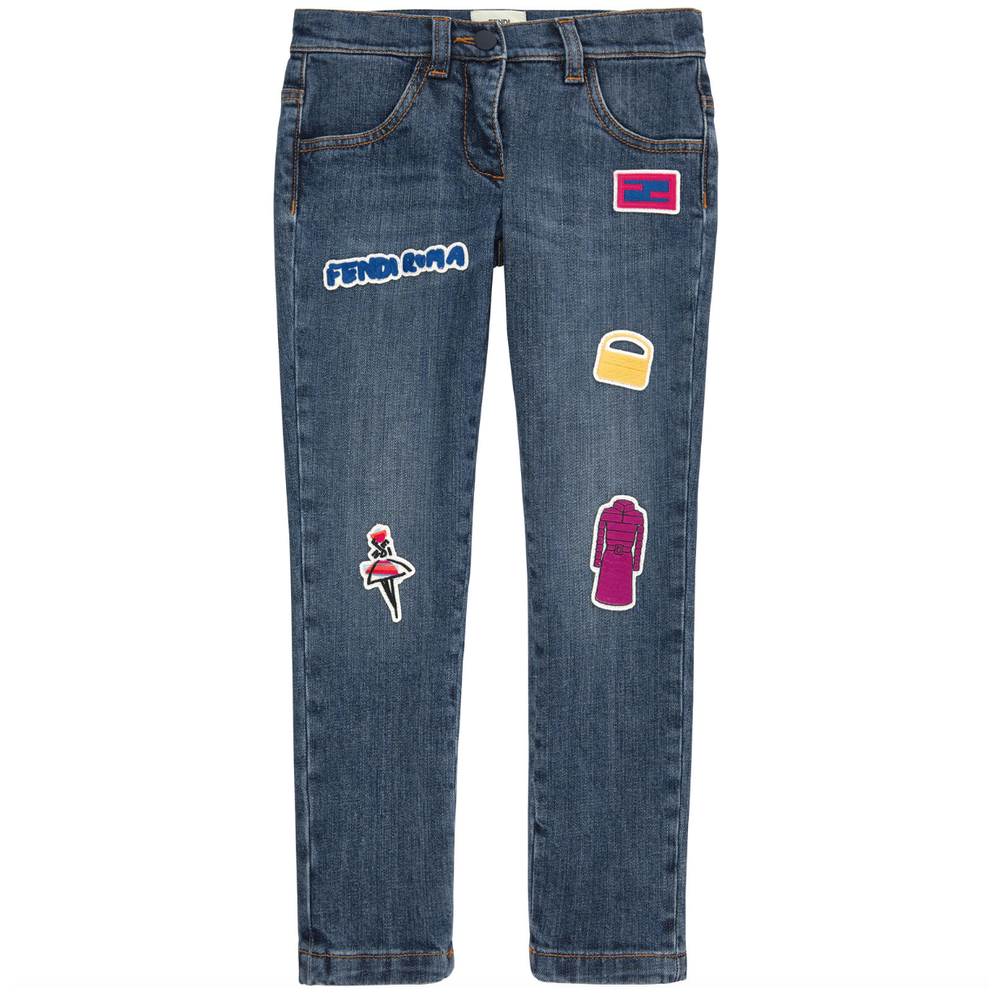 Fendi Girls Patched 'Monster' Jeans Girls Pants Fendi [Petit_New_York]