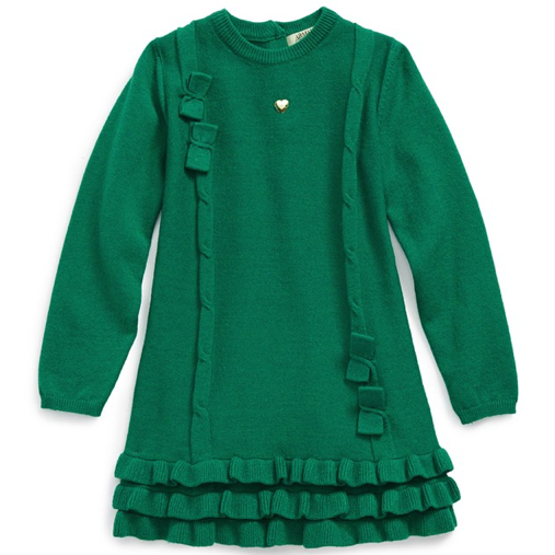 Armani Baby Girls Wool Green Long-Sleeved Dress Baby Dresses Armani Junior [Petit_New_York]