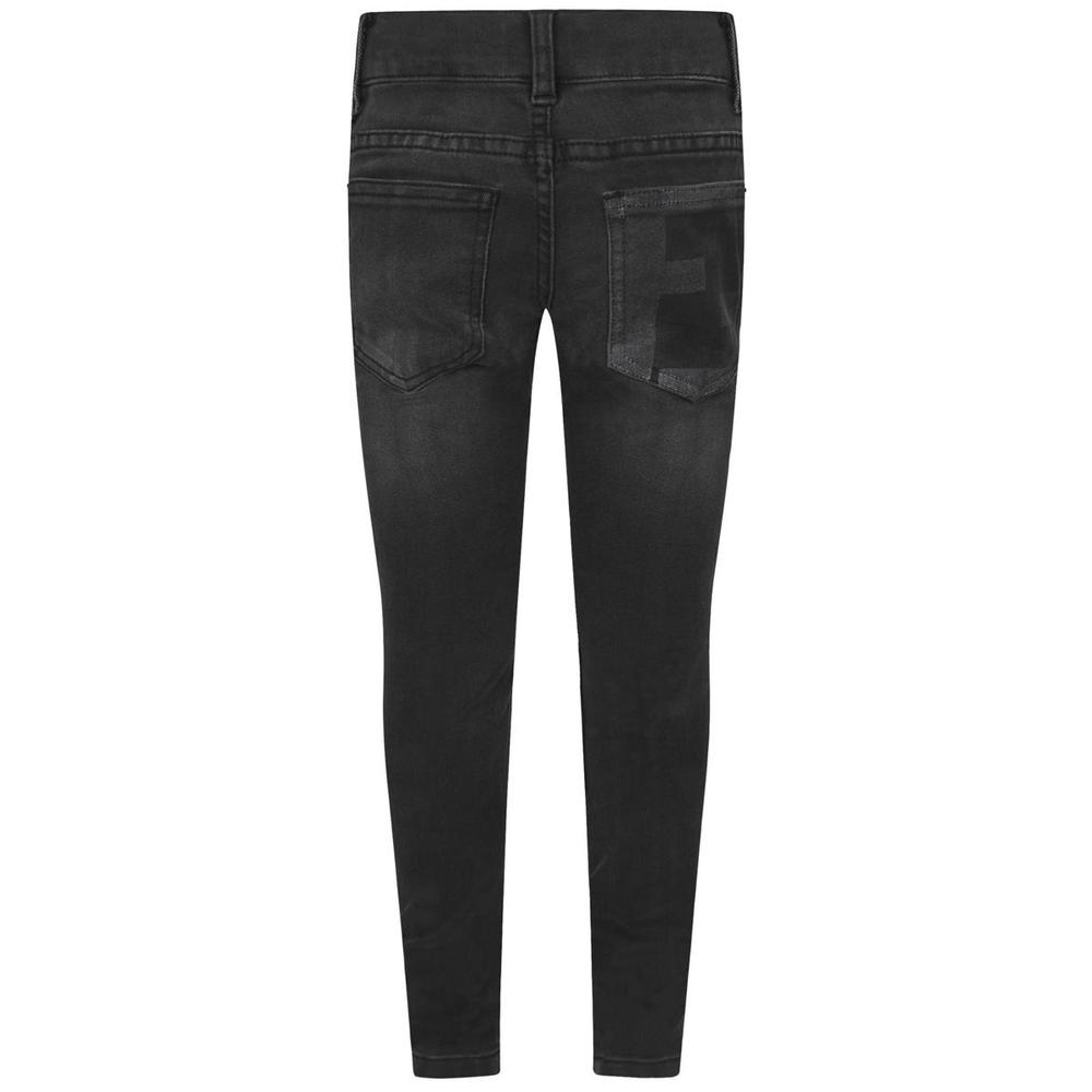 Fendi Girls Black Denim Jeans Girls Pants Fendi [Petit_New_York]