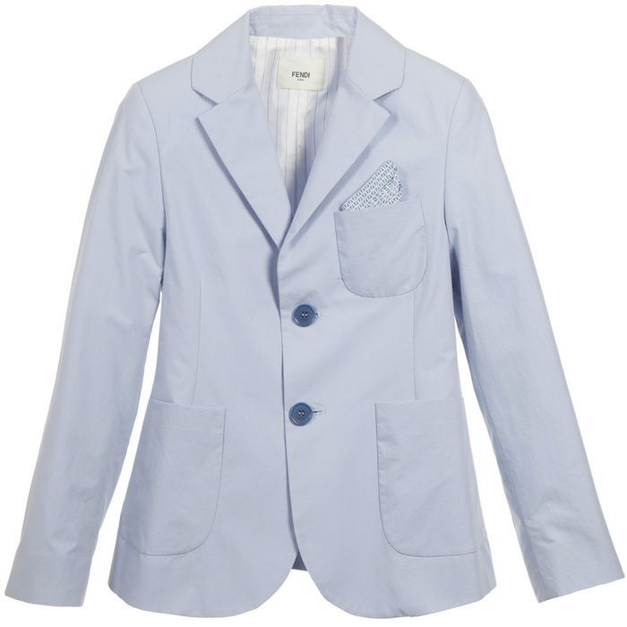 Fendi Boys Pale-Blue Blazer Boys Suits & Blazers Fendi [Petit_New_York]