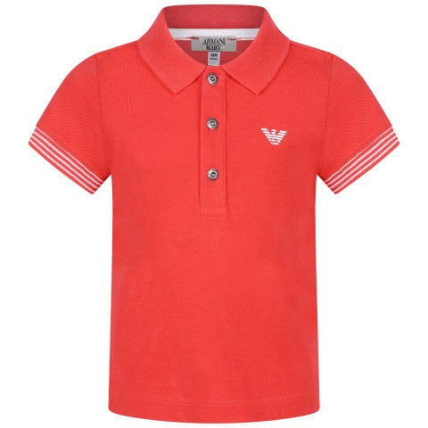 Armani Baby Boys Red Logo Polo Shirt Baby Polo Shirts Armani Junior [Petit_New_York]
