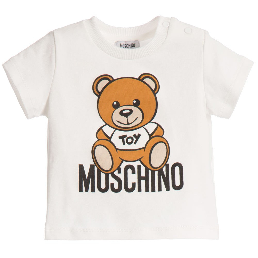Moschino Baby Teddy White T-shirt Baby Tops Moschino [Petit_New_York]