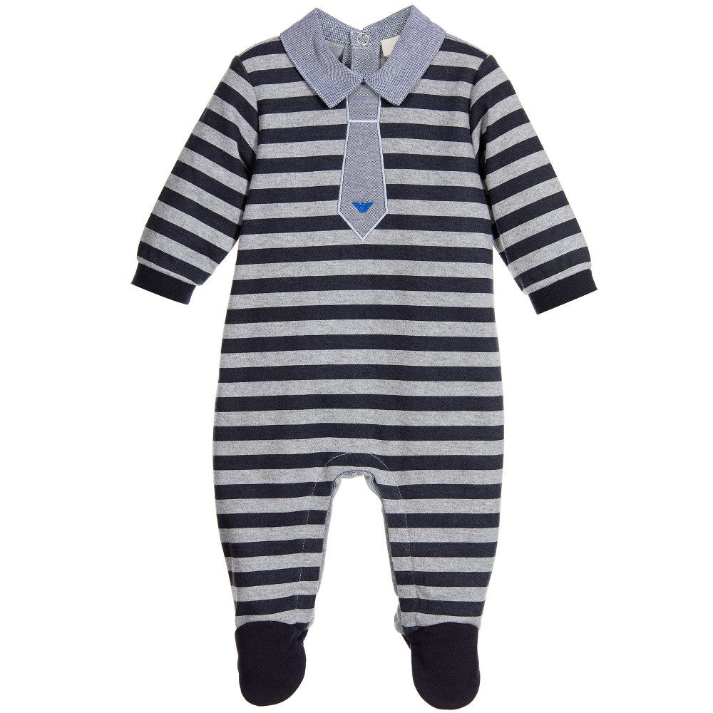 Armani Baby Boys Striped Fancy Romper Gift Set Baby Rompers & Onesies Armani Junior [Petit_New_York]