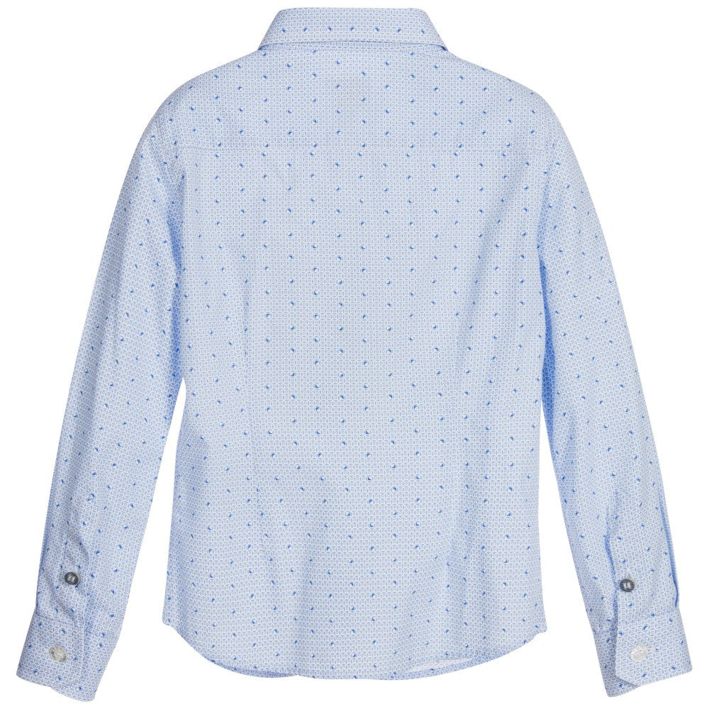 Armani Boys Blue Button-Down Shirt Boys Shirts Armani Junior [Petit_New_York]