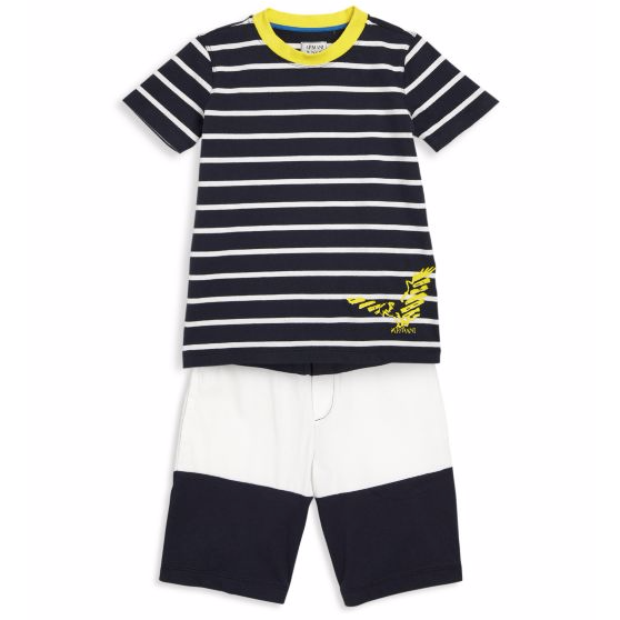 Armani Boys Navy Blue White Two-Piece Set Boys Sets Armani Junior [Petit_New_York]
