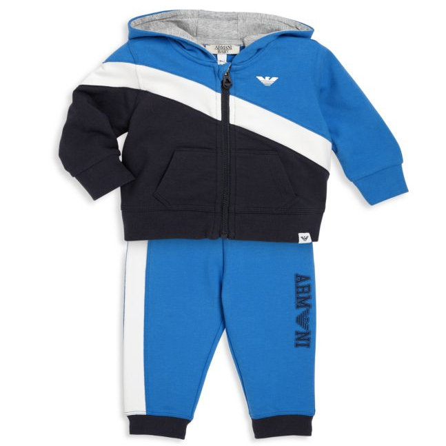 Armani Baby Boys Navy Blue and White Tracksuit Baby Sets & Suits Armani Junior [Petit_New_York]