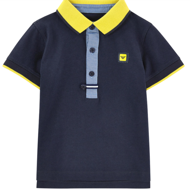 Armani Boys Navy Blue Piqué Polo Shirt Boys Polo Shirts Armani Junior [Petit_New_York]