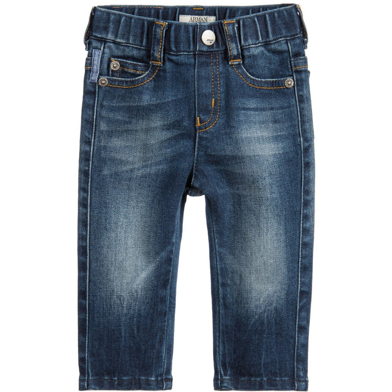 Armani Baby Boys Blue Denim Jeans Baby Bottoms Armani Junior [Petit_New_York]