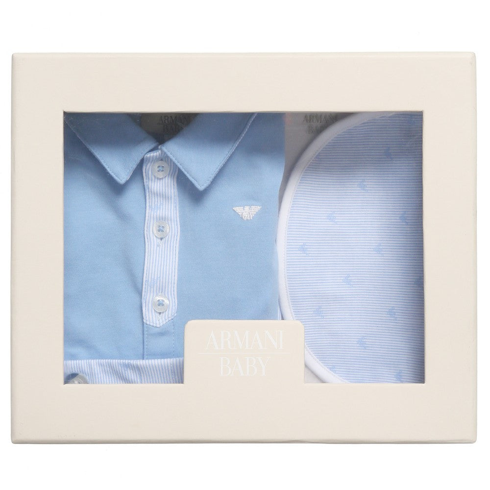Armani Baby Boys Blue Top, Shorts, Bib Gift Set Baby Sets & Suits Armani Junior [Petit_New_York]