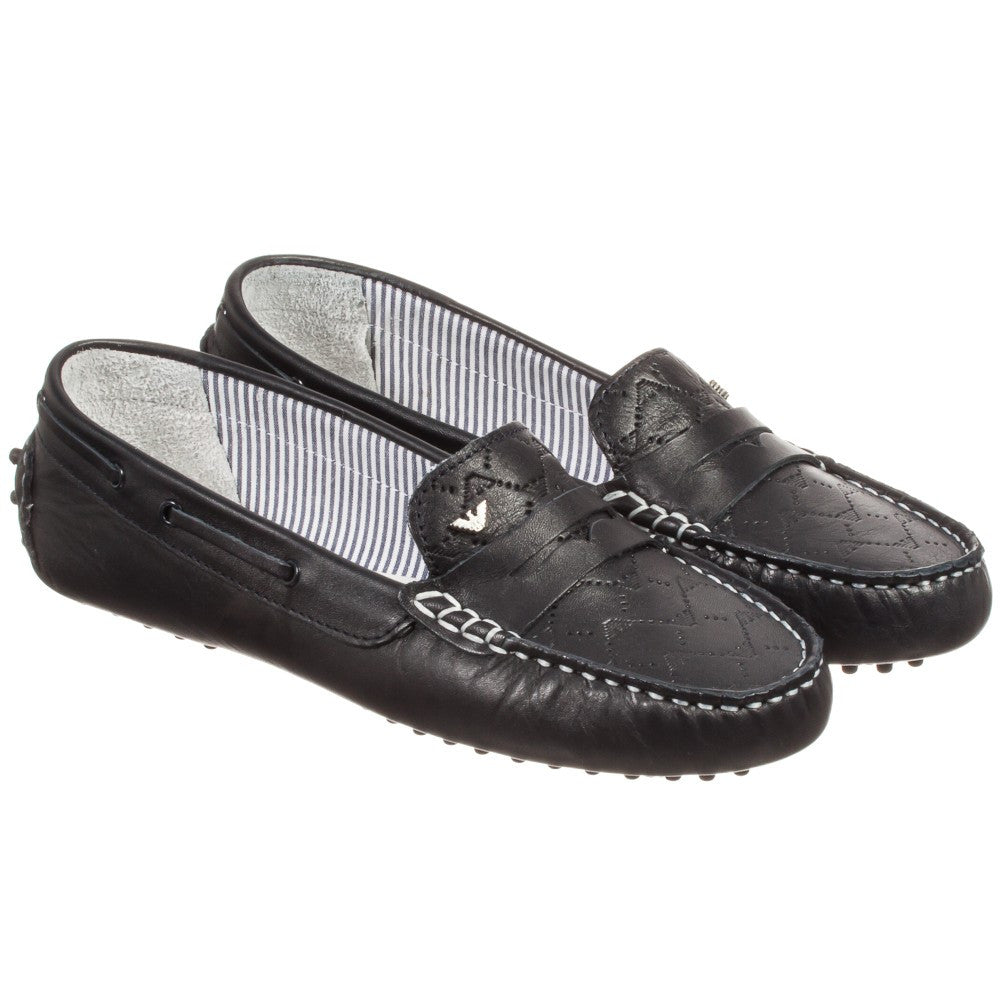 4c9003b182b Armani Boys Dark Navy Formal Loafers Boys Shoes Armani Junior   Petit New York
