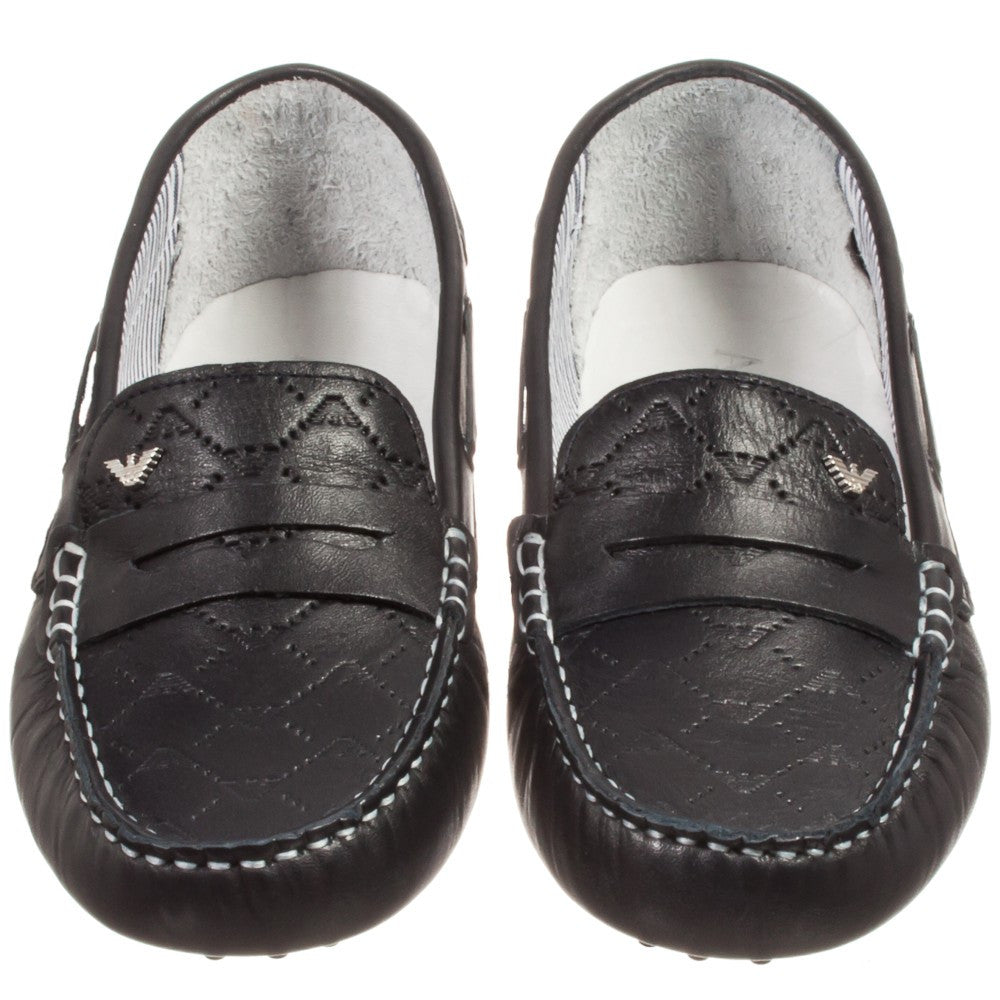Armani Boys Dark Navy Formal Loafers Boys Shoes Armani Junior [Petit_New_York]
