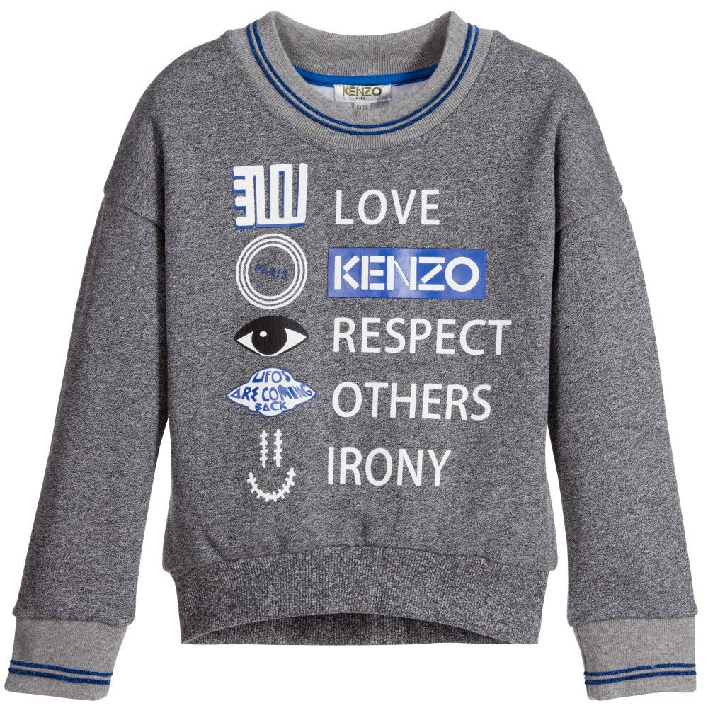Kenzo Girls Grey 'Respect & Smile' Sweatshirt Girls Sweaters & Sweatshirts Kenzo Paris [Petit_New_York]