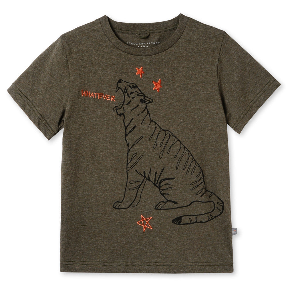 Stella McCartney Boys Khaki Tiger T-shirt Boys T-shirts Stella McCartney Kids [Petit_New_York]