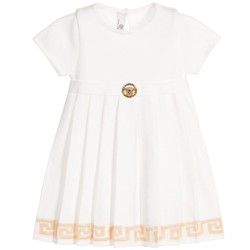 Versace Baby Girls Knitted Ivory & Gold Dress Baby Dresses Young Versace [Petit_New_York]
