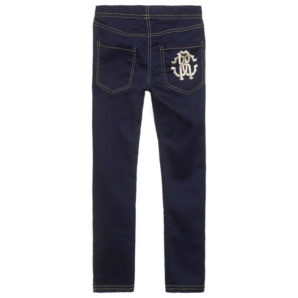 Cavalli Denim-Look Jeggings Girls Leggings Roberto Cavalli Junior [Petit_New_York]