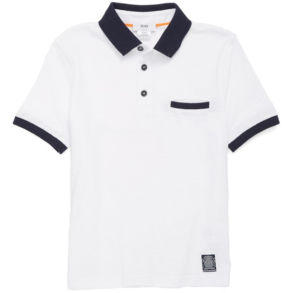 Hugo Boss Boys White and Navy Polo Shirt Boys Polo Shirts Boss Hugo Boss [Petit_New_York]
