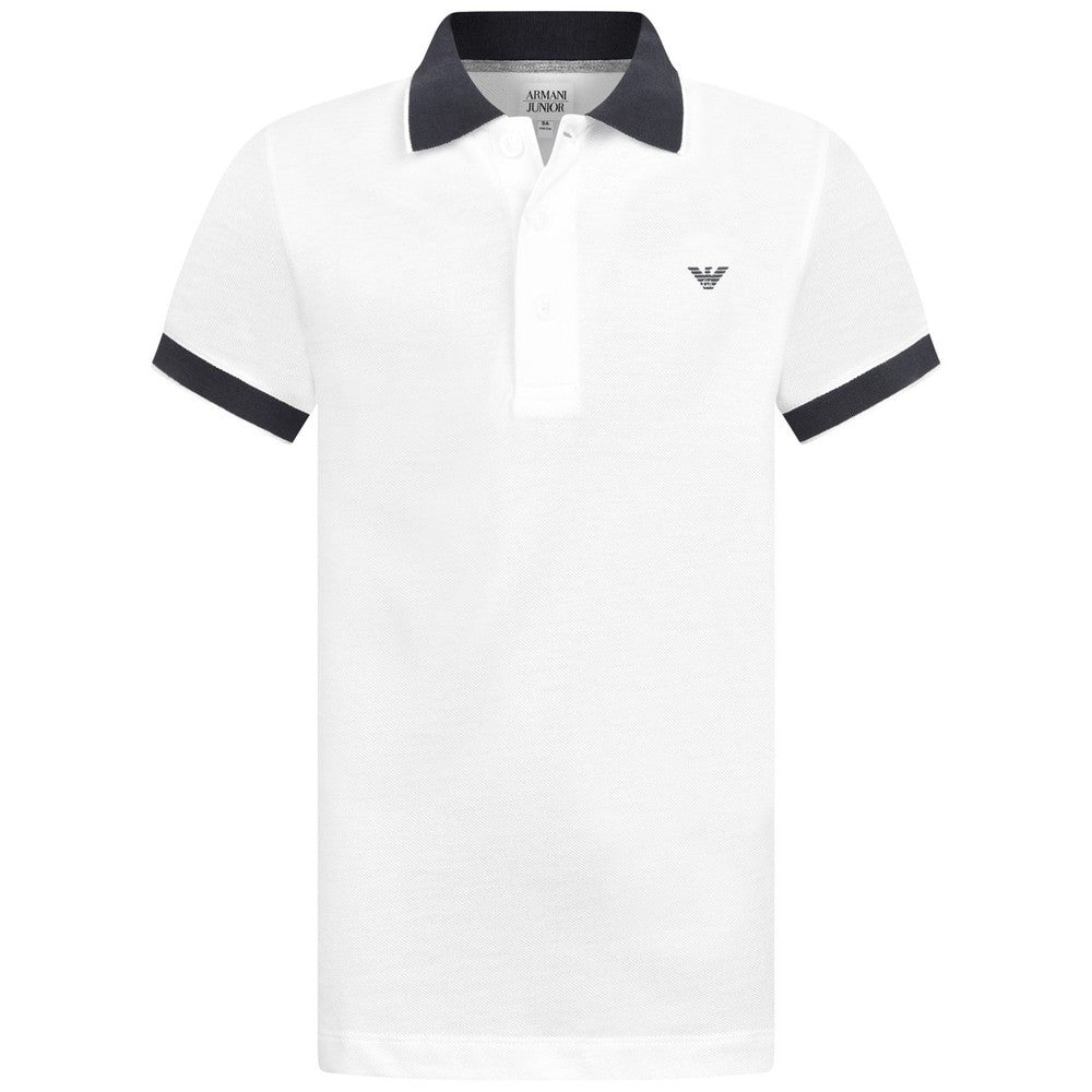 Armani Baby Boys White Logo Polo Shirt Baby Polo Shirts Armani Junior [Petit_New_York]