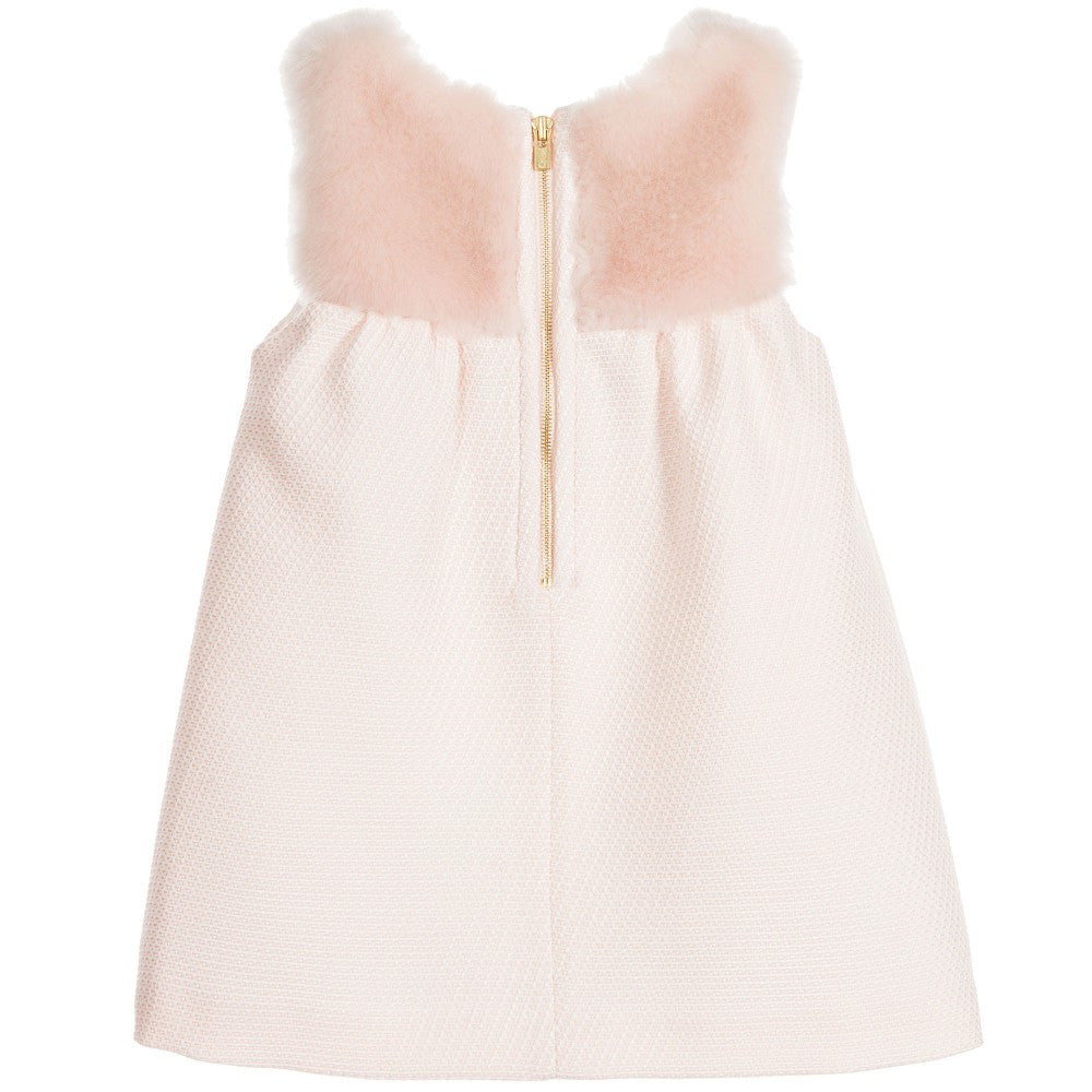 Chloe Baby Girls Light Pink Dress w/ Fur Baby Dresses Chloé [Petit_New_York]