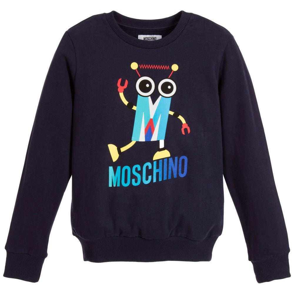 Moschino Boys Navy Robot Sweatshirt Boys Sweaters & Sweatshirts Moschino [Petit_New_York]