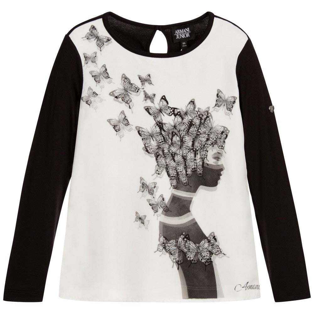 Armani Girls Black & White Butterfly T-shirt Girls Tops Armani Junior [Petit_New_York]