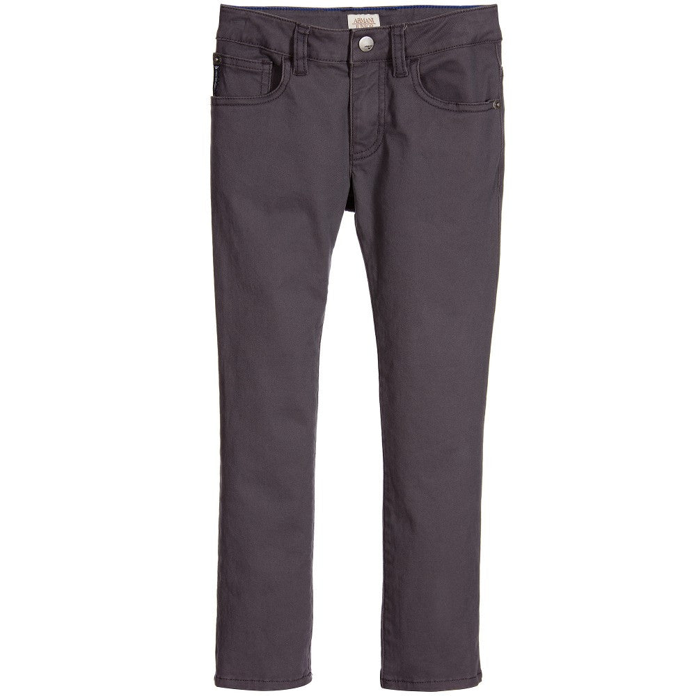 Armani Junior Boys Grey Cotton Twill Pants Boys Pants Armani Junior [Petit_New_York]