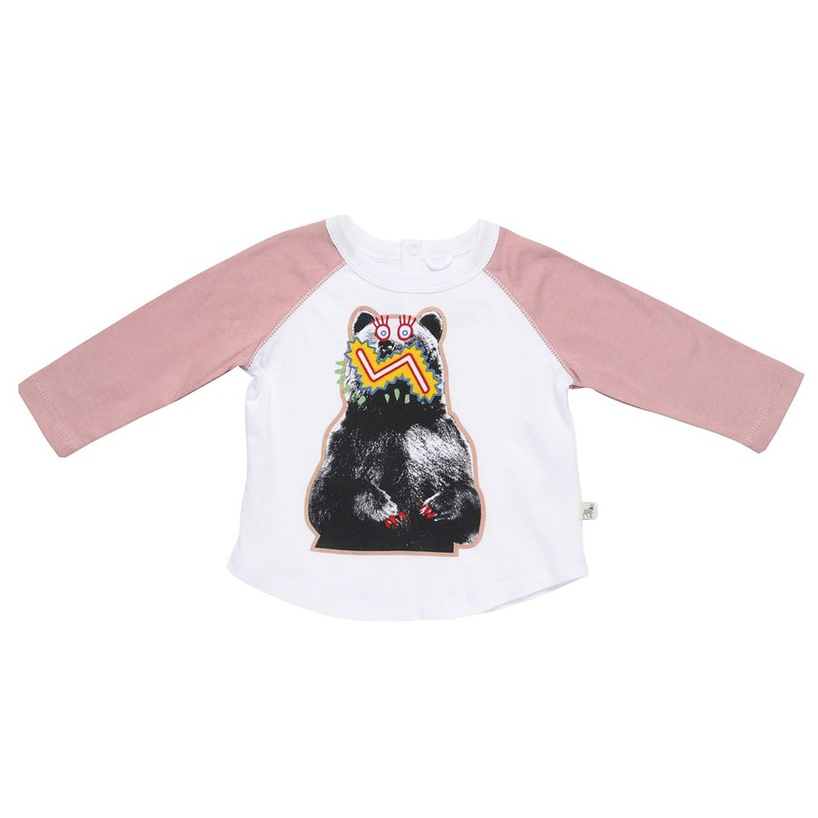 Stella McCartney Baby Girls White and Pink 'Max Bear' T-shirt Baby T-shirts Stella McCartney Kids [Petit_New_York]
