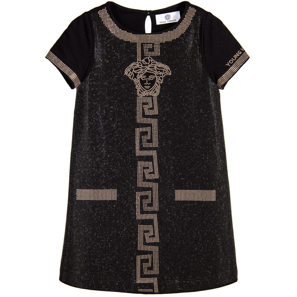 Versace Girls Black Studded Dress Girls Dresses Young Versace [Petit_New_York]