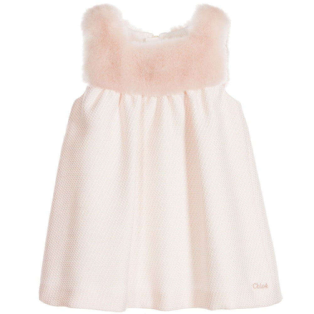 Chloe Baby Girls Light Pink Dress with Fur