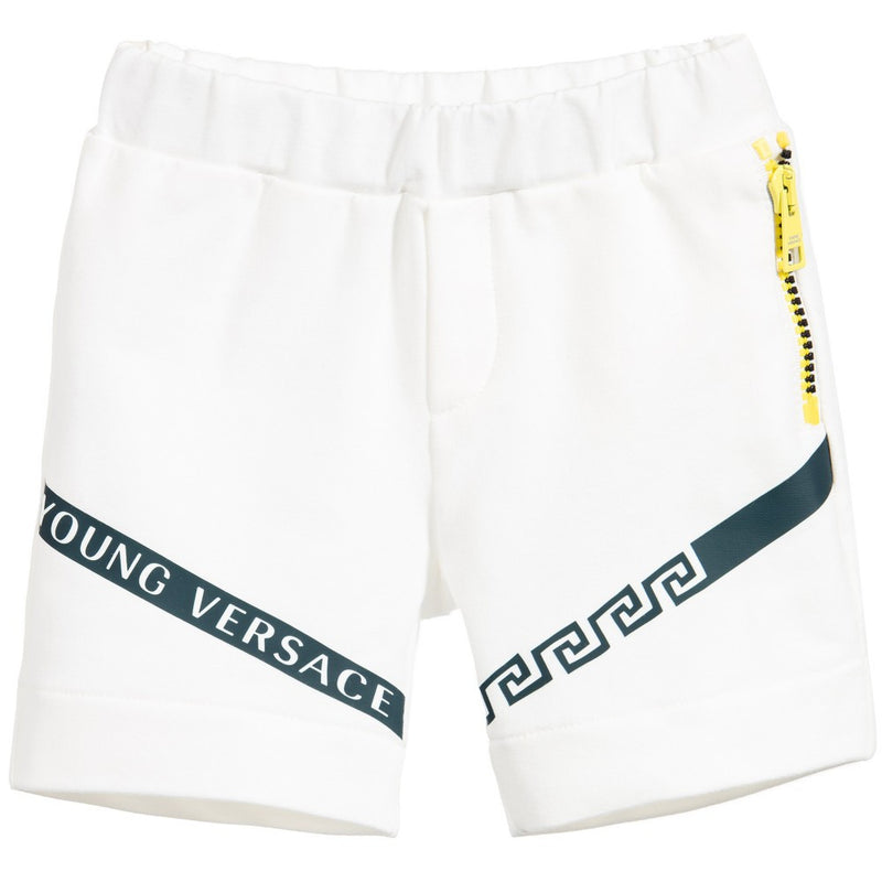 Versace Baby Boys Ivory Jersey Shorts Baby Bottoms Young Versace [Petit_New_York]