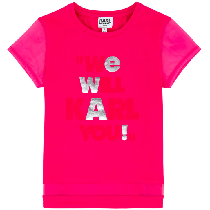 65a4ac635 Karl Lagerfeld Girls Hot Pink Printed T-shirt Girls Tops Karl Lagerfeld Kids  [Petit_New_York