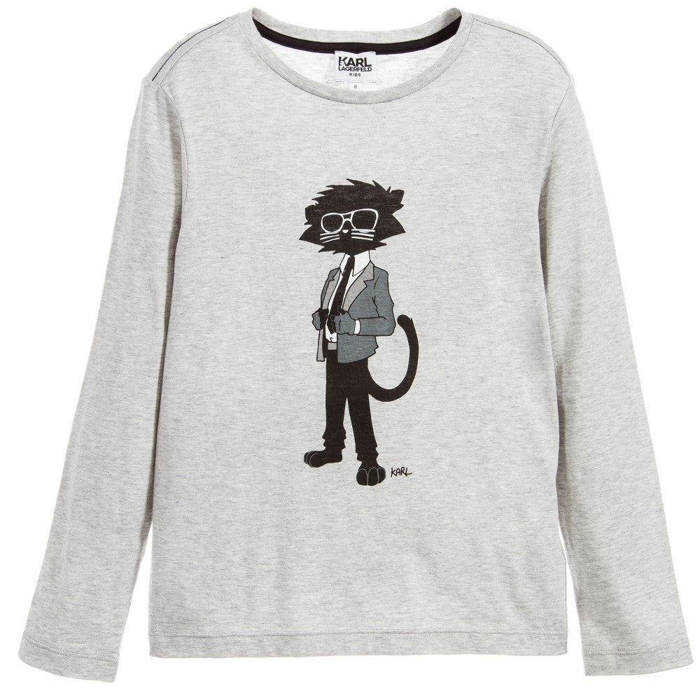 Karl Lagerfeld Boys Grey 'Bad Cat' T-shirt Boys T-shirts Karl Lagerfeld Kids [Petit_New_York]