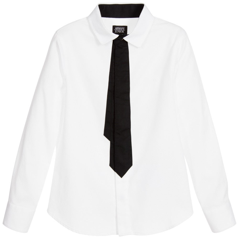 Armani Boys White Shirt with Tie Boys Shirts Armani Junior [Petit_New_York]