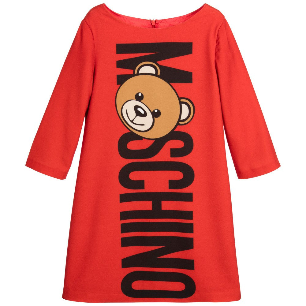 Moschino Girls Red Teddy Logo Dress Girls Dresses Moschino [Petit_New_York]