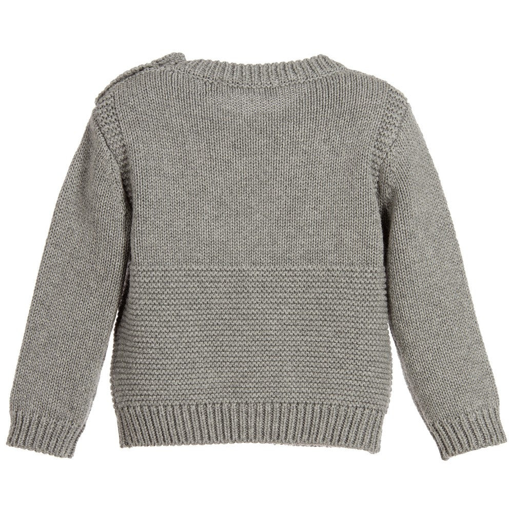 Stella McCartney Baby Grey Cashmere Blend Lion Sweater Baby Sweaters & Sweatshirts Stella McCartney Kids [Petit_New_York]