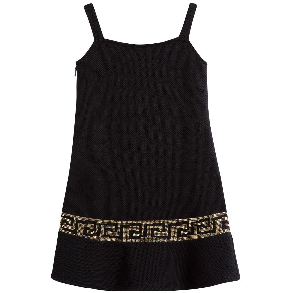 Versace Girls Dark Gold-Studded Dress Girls Dresses Young Versace [Petit_New_York]