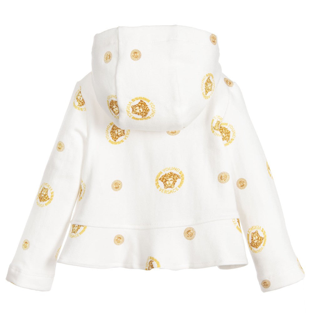 Versace Baby Girls Ivory Medusa Jacket Baby Tops Young Versace [Petit_New_York]