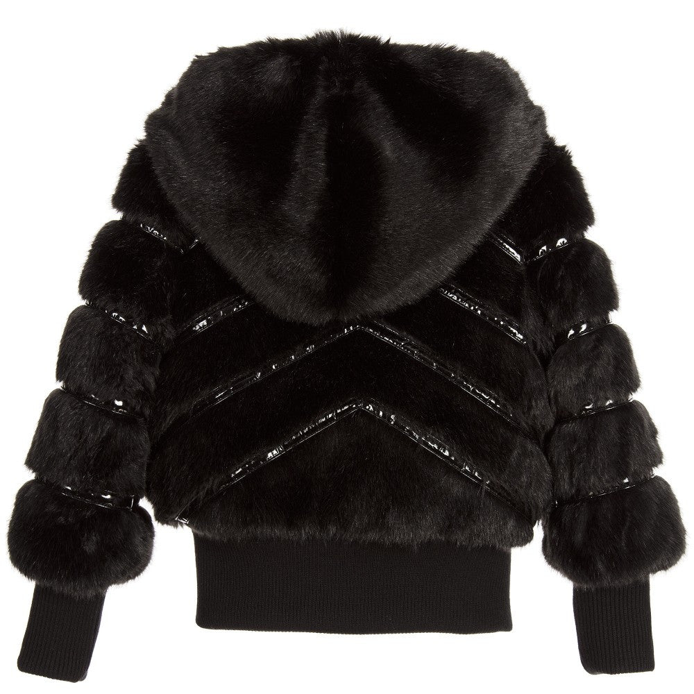 Armani Girls Black Faux Fur Hooded Jacket – Petit New York