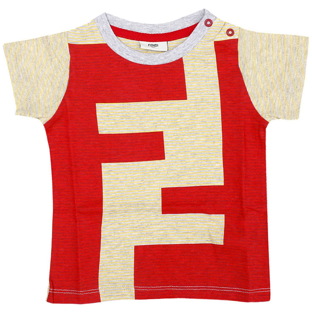 Fendi Baby Boys Red and Yellow 'FF' Logo T-shirt Baby T-shirts Fendi [Petit_New_York]