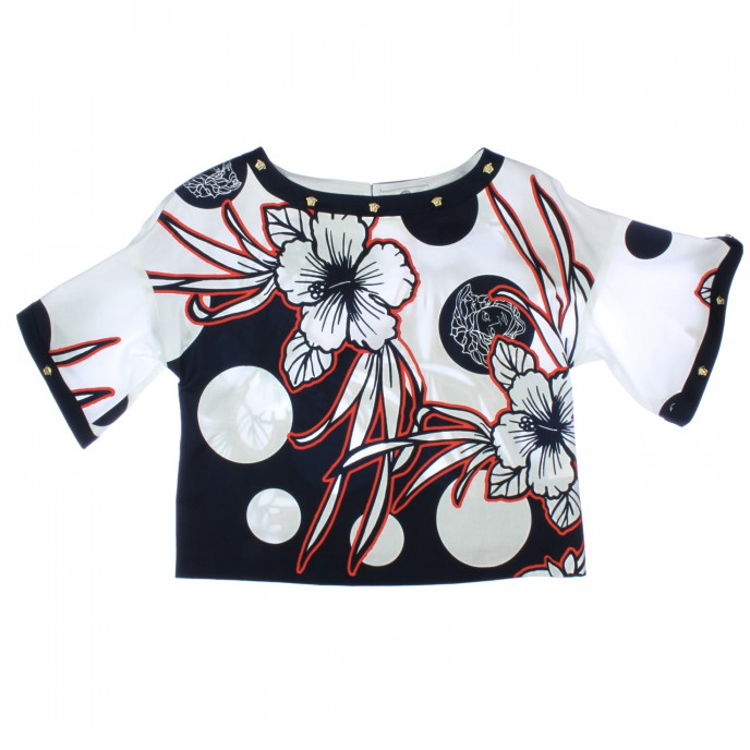 Versace Girls Floral Blouse Girls Tops Young Versace [Petit_New_York]