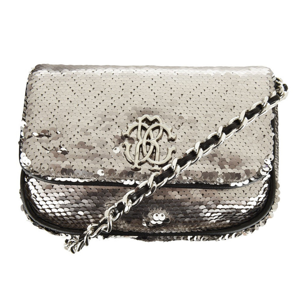 Roberto Cavalli Girls Silver Sequin Shoulder Bag Accessories Roberto Cavalli Junior [Petit_New_York]
