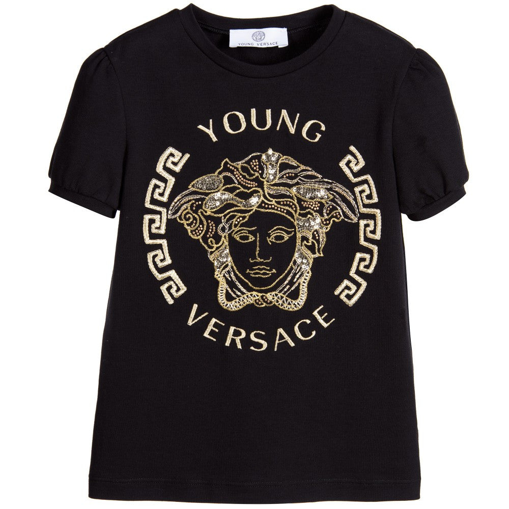 52198f17 Versace Girls Black Medusa Mini-Me Logo T-shirt Girls Tops Young Versace [