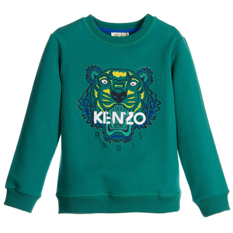 Kenzo Boys Green Tiger Logo Sweatshirt Boys Sweaters & Sweatshirts Kenzo Paris [Petit_New_York]