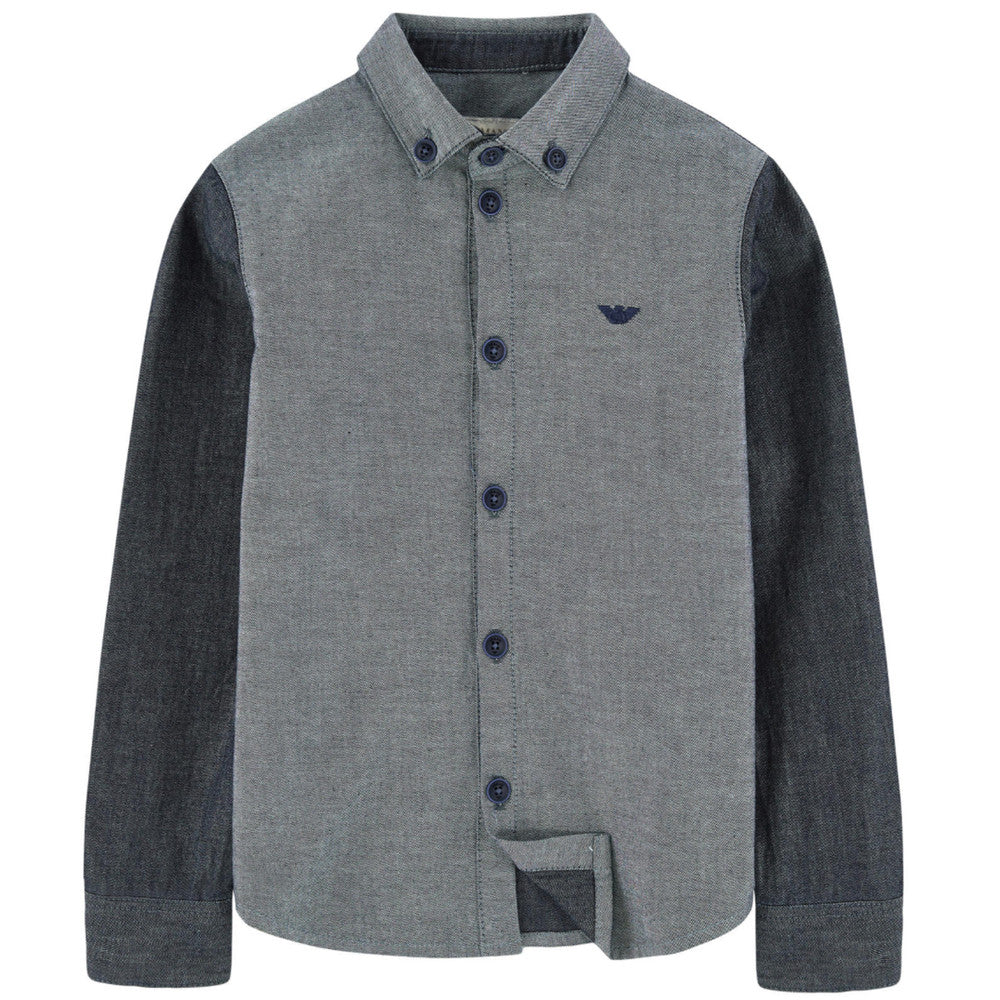 Armani Boys Grey Denim Shirt Boys Shirts Armani Junior [Petit_New_York]