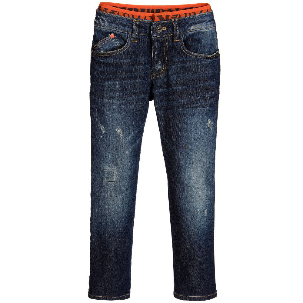 Armani Junior Boys Blue Denim Waistband Jeans Boys Pants Armani Junior [Petit_New_York]