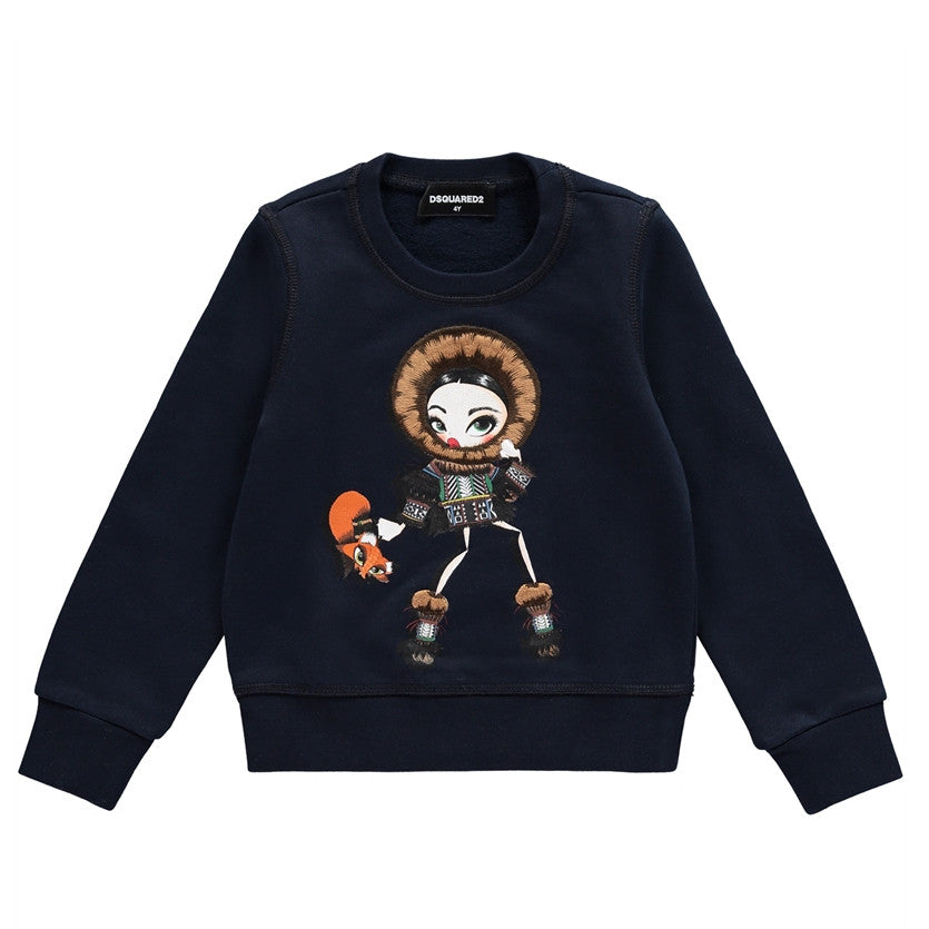 Dsquared2 Girls Navy Fashion Graphic Sweatshirt Girls Sweaters & Sweatshirts Dsquared2 [Petit_New_York]