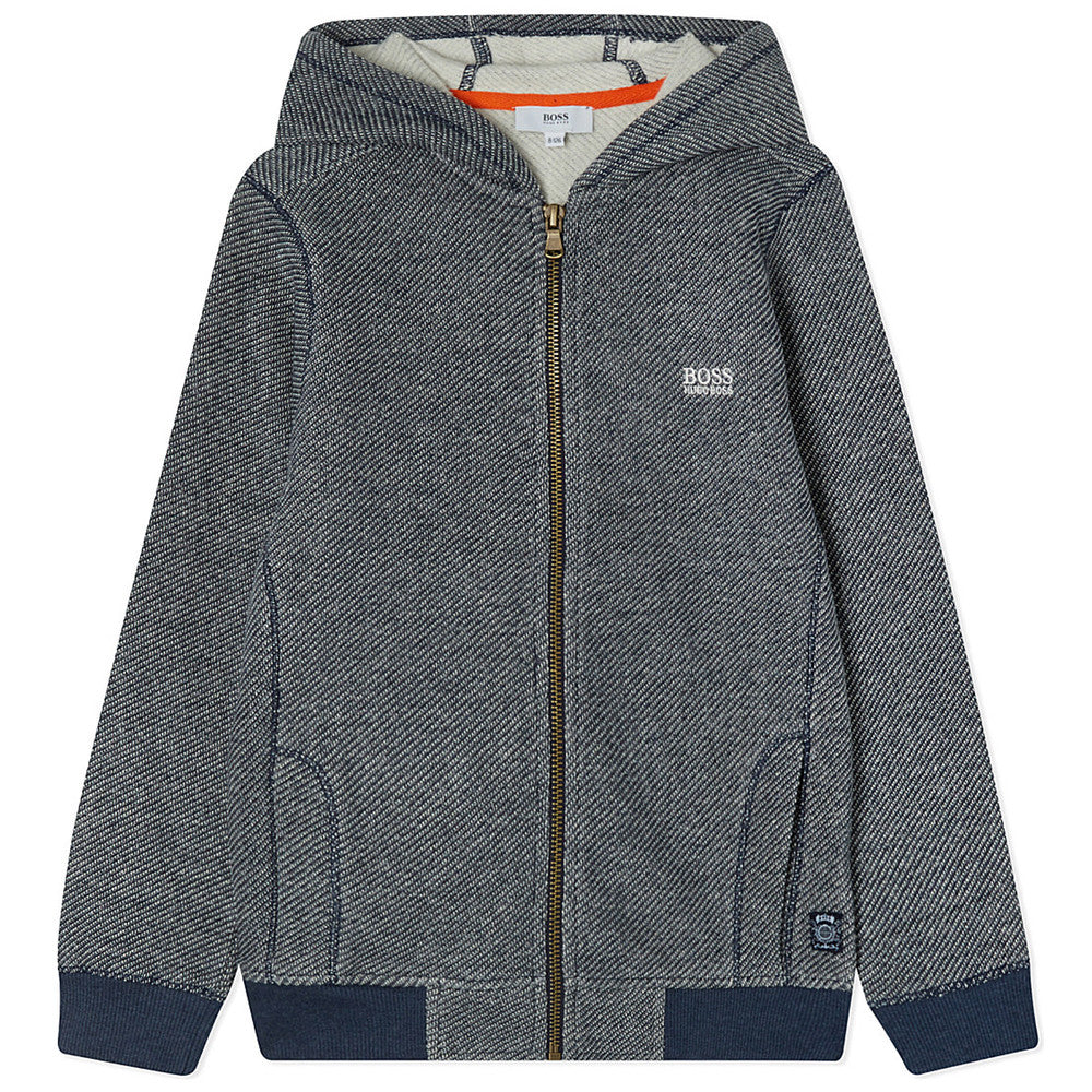 Hugo Boss Boys Grey & Navy Zip Hoodie Girls Sweaters & Sweatshirts Boss Hugo Boss [Petit_New_York]